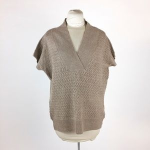 Rachel Roy Brown Sweater Sz L V Neck Sleeveless